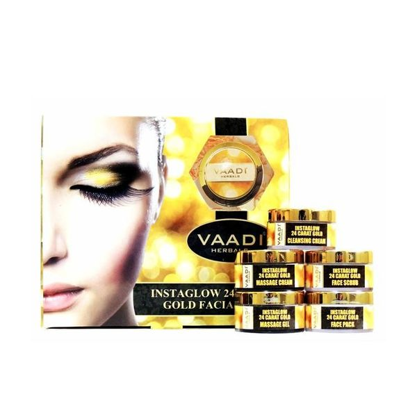 Gold Facial Kit with 24 Carat Gold Leaves, Marigold & Wheatgerm Oil, Lemon Peel Extract