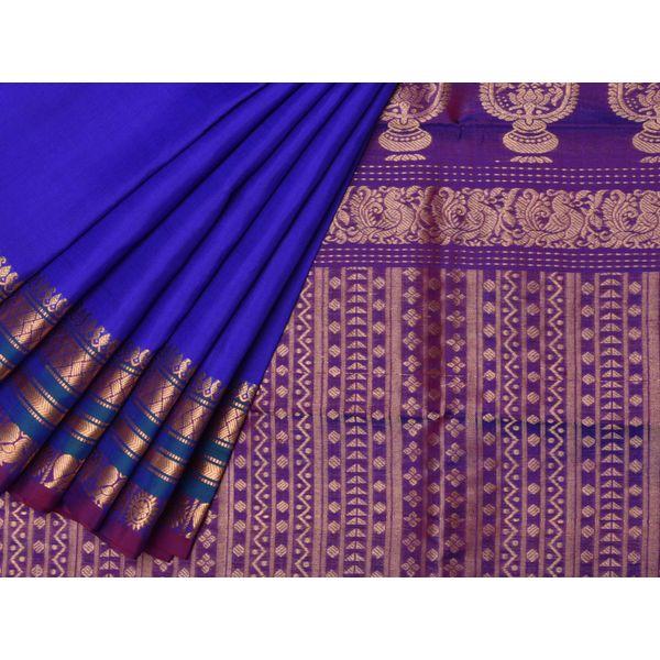 Blue Gadwal Silk Handloom Saree with Mango Pallu Design g0139