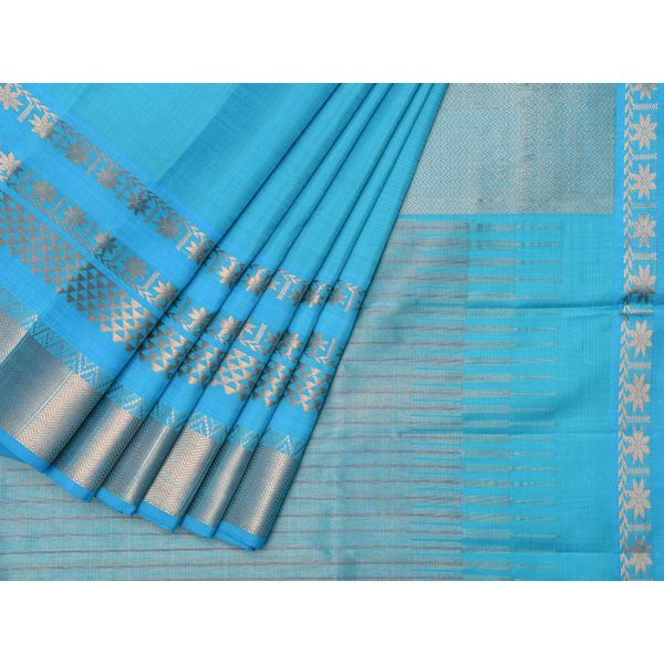 Blue Kanchipuram Silk Handloom Saree with Triple Border Design k0170