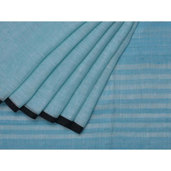 Blue Linen x Linen Handloom Plain Saree o0118