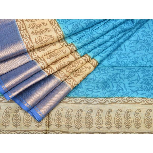 Blue Printed Tussar Georgette Saree with Floral Design o0068