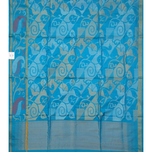 Blue Uppada Pure Silk Saree mango border with diagonal leaf design u0896