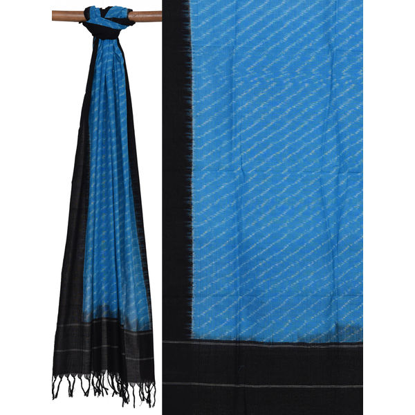 Blue and Black Pochampally Ikat Cotton Handloom Dupatta with Diagonal Design ds1344