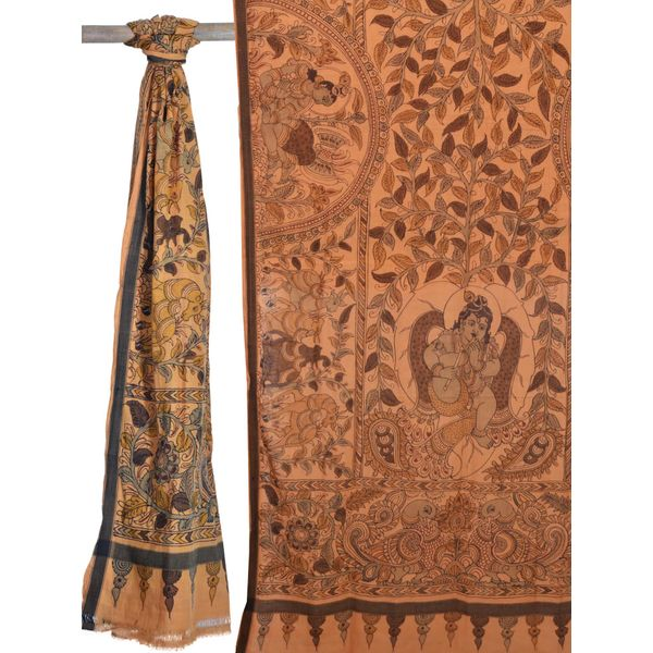 Cream Kalamkari Hand Painted Cotton Handloom Dupatta with Krishna ds1464