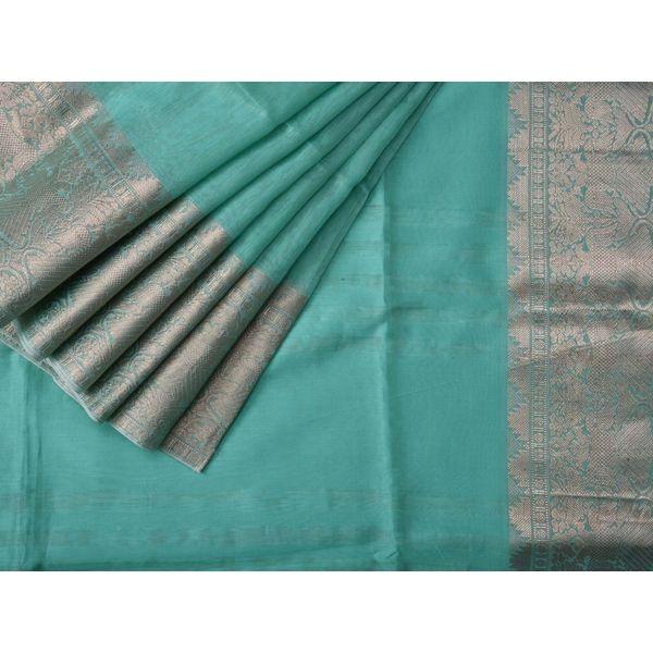 Cyan Linen Silk Handloom Saree with Border Design o0106