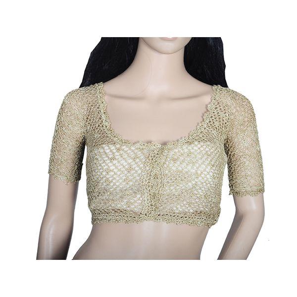 Golden Brown Crochet Design Blouse 28 Size bl0008