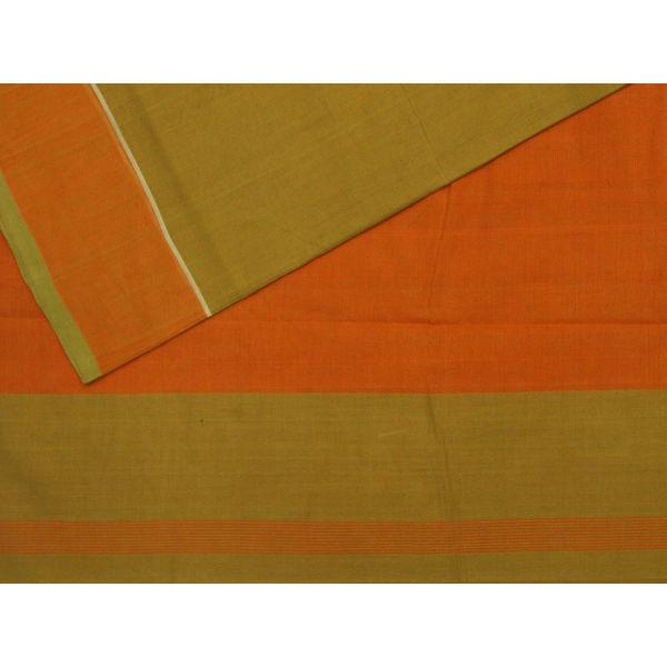 Green Mangalgiri Cotton Handloom Plain Saree mn0023