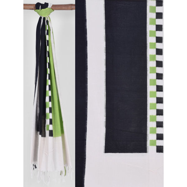 Green and Black Pochampally Ikat Cotton Handloom Dupatta with Middle Checks ds1216