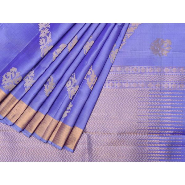 Lavender Uppada Silk Handloom Saree with Diagonal Nilambari Buta Design u1198