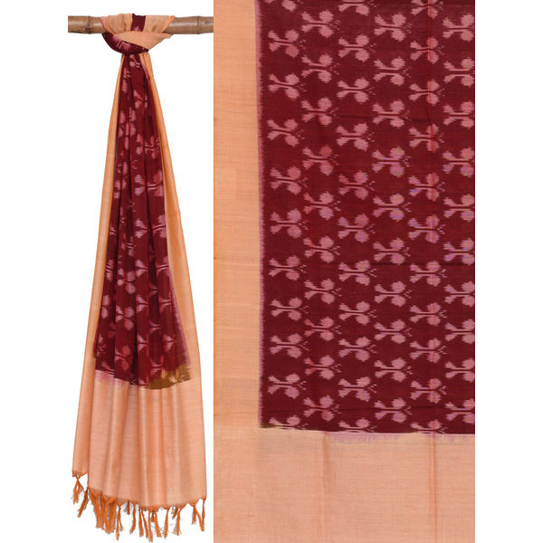 Maroon and Cream Pochampally Ikat Cotton Handloom Dupatta with Butterfly Design ds1408
