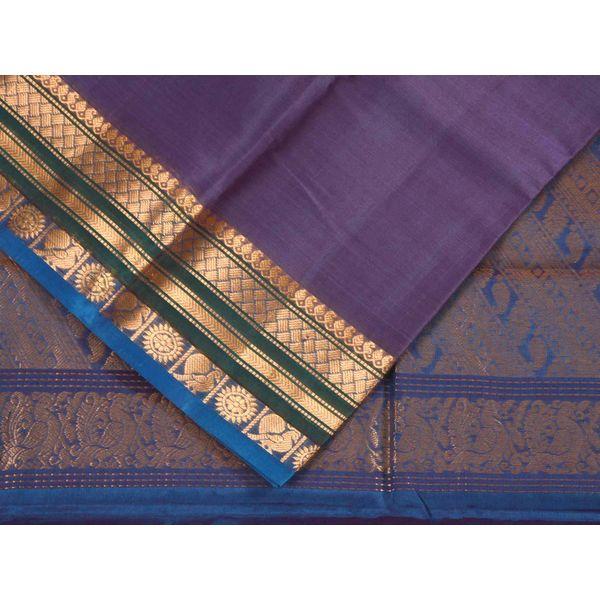 Purple Gadwal Cotton Silk Handloom Saree with Mango Pallu Design g0136