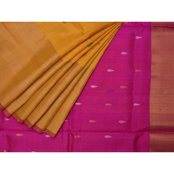 Yellow and Pink Uppada Silk Handloom Saree with One Side Big Border Design u1278