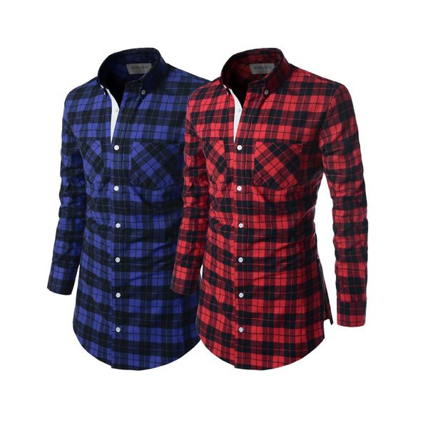 combo fo 2 long check shirt men 2 lch01