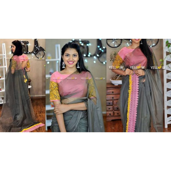 99947a23c89ff Plain gray organza saree with baby pink and yellow crochet Pallu edging. Blouse - Antique gold beaded cutwork ...