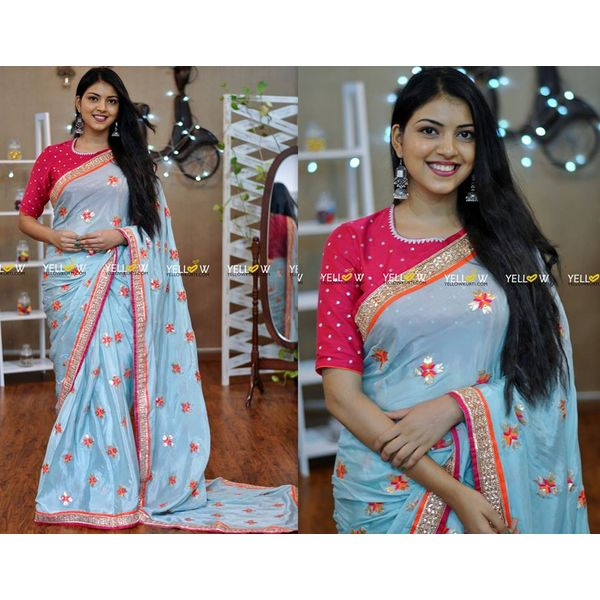 56f4e72ab1 Pastel Blue E Saree With Allover Embroidered Motifs And