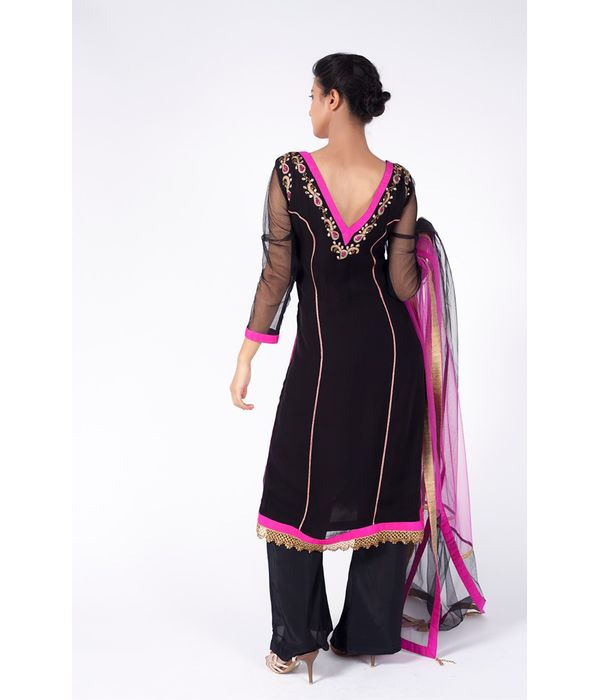 CELEBRITY BLACK AND NEON PINK EMBROIDERED SHIRT WITH  SHARARA PANT ALONG WITH BLACK DUPATTA.