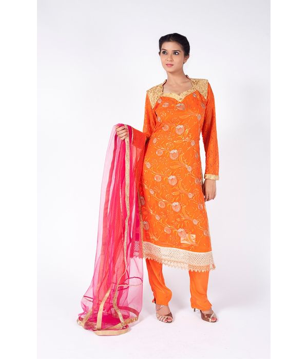 FESTIVE ORANGE EMBROIDERED SHIRT WITH STRAIGHT PANT ALONG WITH  BURNT PINK DUPATTA.