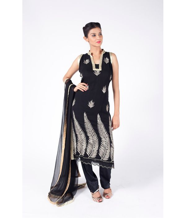 BLACK EMBROIDERED SHIRT WITH STRAIGHT PANT ALONG WITH BLACK DUPATTA.
