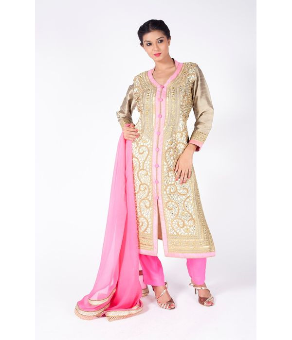 CREAM AND CARNATION PINK EMBROIDERED JACKET WITH CARNATION PINK  STRAIGHT PANT  ALONG WITH CARNATION PINK DUPATTA.