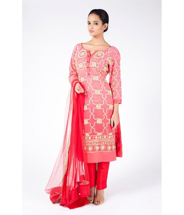 CARROT PINK OMBRE EMBROIDERED SHIRT WITH RUBY RED STRAIGHT PANT ALONG WITH RUBY RED DUPATTA.