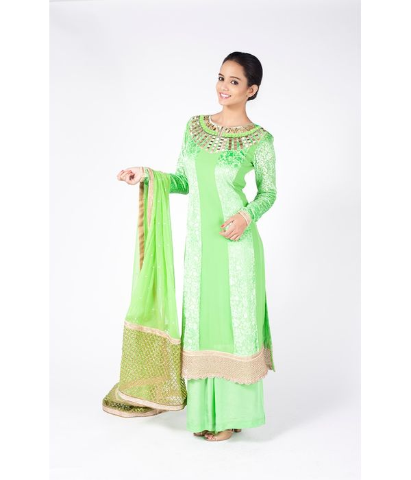 PERI DOT GREEN EMBROIDERED SHIRT WITH  SHARARA PANT ALONG WITH PERIDOT GREEN DUPATTA.