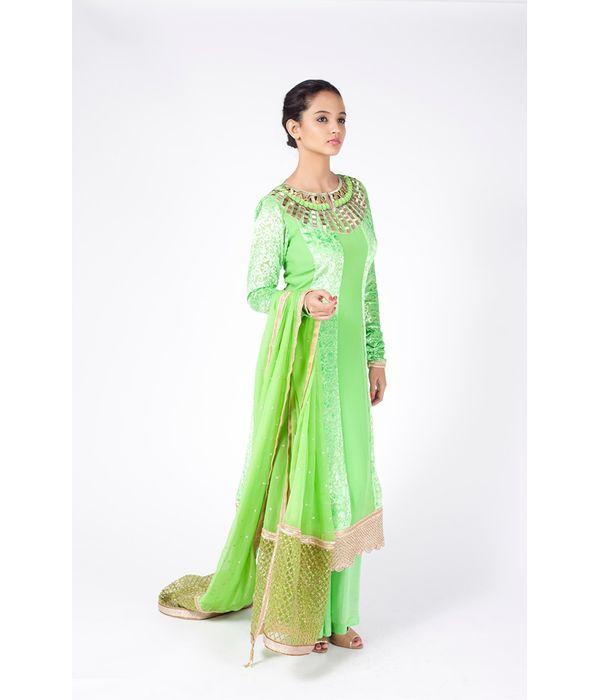 PERI DOT GREEN EMBROIDERED SHIRT WITH  SHARARA PANT ALONG WITH PERIDOT GREEN DUPATTA.