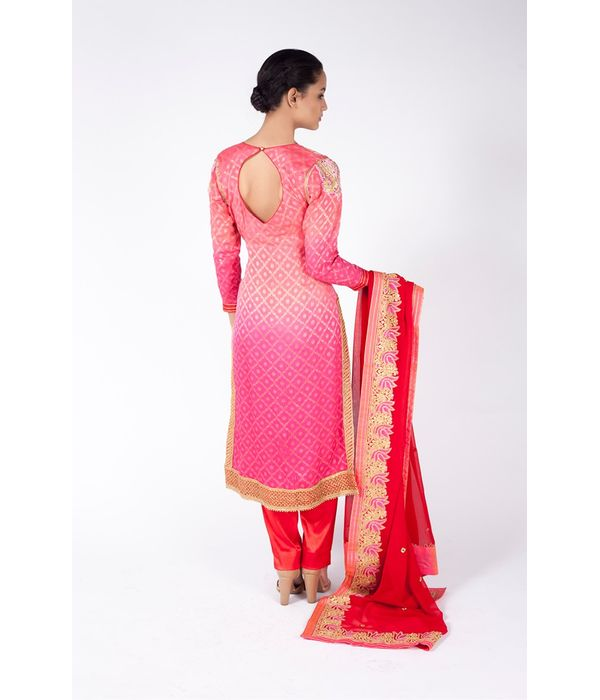 PINK OMBRE EMBROIDERED SHIRT WITH CARDINAL RED STRAIGHT PANT  ALONG WITH CARDINAL RED DUPATTA.