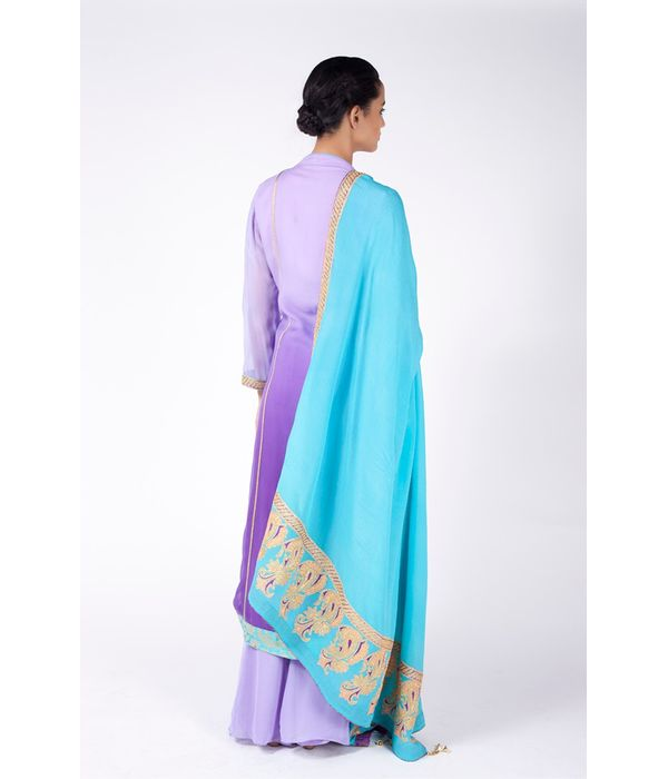 LILAC OMBRE EMBROIDERED SHIRT WITH SHARARA ALONG WITH TURQUOISE DUPATTA.