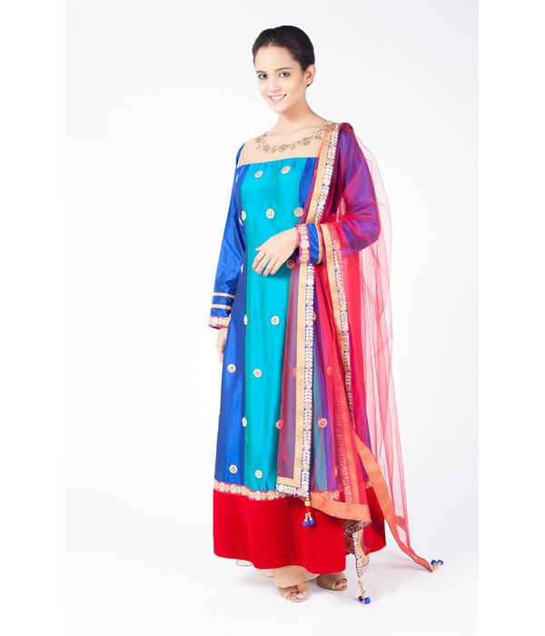 MULTICOLOURED  EMBROIDERED SHIRT WITH SHARARA ALONG WITH RED DUPATTA.