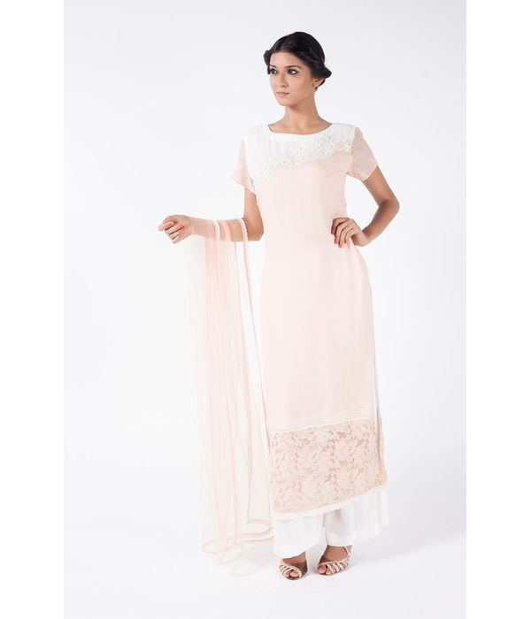 BEIGE EMBROIDERED SHIRT WITH GHOST WHITE SHARARA PANT ALONG WITH BEIGE DUPATTA.