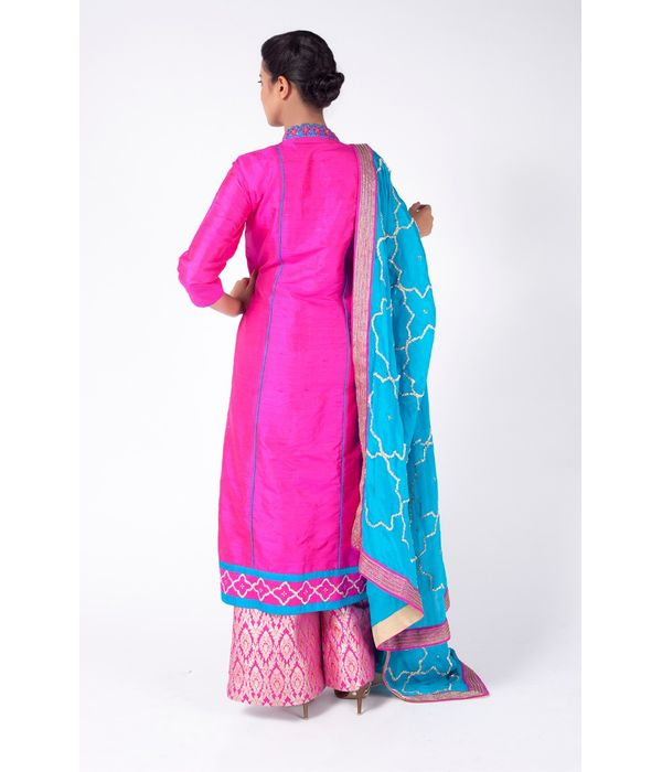 DEEP PINK EMBROIDERED SHIRT WITH  BROCADE SHARARA PANT  ALONG WITH TURQUOISE DUPATTA.