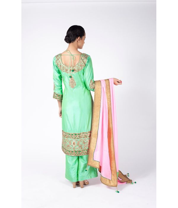 PISTA GREEN EMBROIDERED SHIRT WITH  SHARARA PANT ALONG WITH BABY PINK DUPATTA.