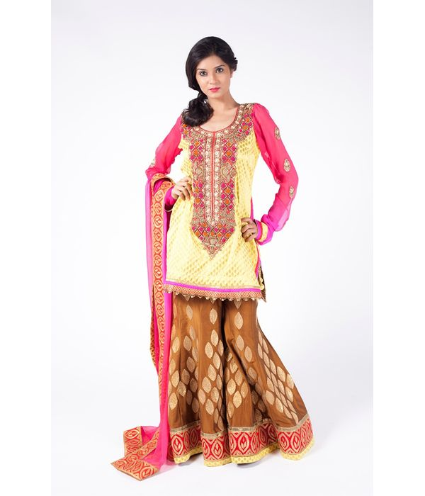 YELLOW AND PINK EMBROIDERED SHIRT WITH BROWN SHARARA  ALONG WITH PINK DUPATTA.