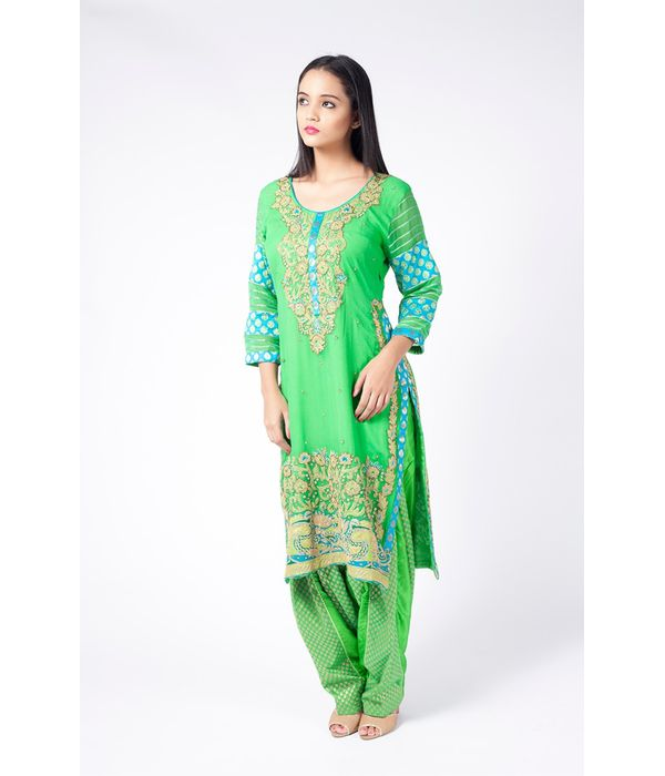PERIDOT GREEN AND TURQUOISE EMBROIDERED SHIRT WITH   JM SALWAR .