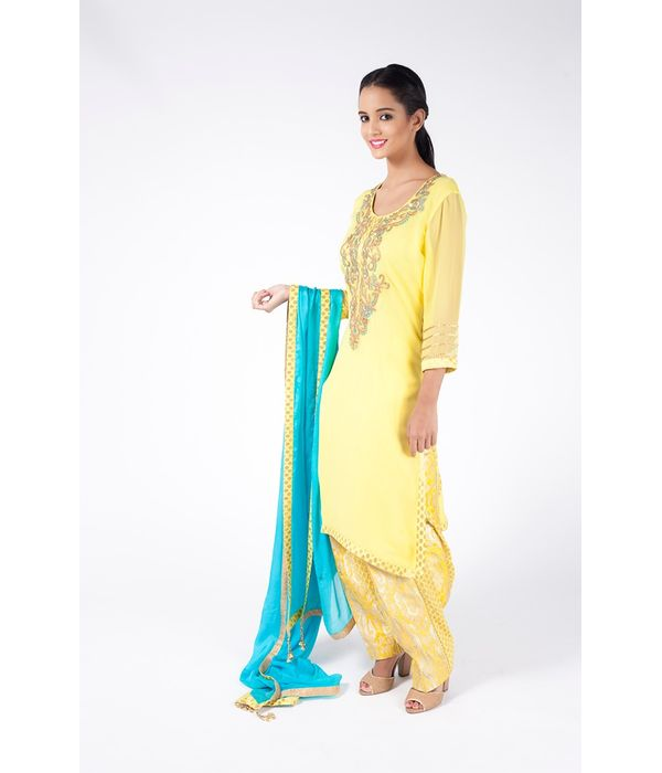 CHROME YELLOW EMBROIDERED SHIRT WITH  JM SALWAR ALONG WITH TURQUOISE DUPATTA.