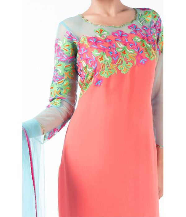 BRIGHT PEACH EMBROIDERED  SHIRT WITH SHARARA PANT ALONG WITH TURQUOISE DUPATTA