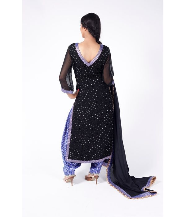 BLACK AND ROYAL BLUE EMBROIDERED SHIRT WITH ROYAL BLUE JM SALWAR ALONG WITH BLACK DUPATTA