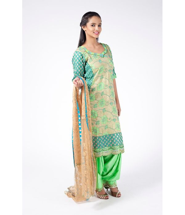 PISTA GREEN AND TURQUOISE EMBROIDERED SHIRT WITH PISTA GREEN JM SALWAR ALONG WITH TURQUOISE DUPATTA.