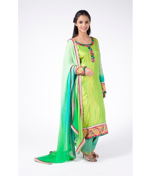 MINT GREEN EMBROIDERED SHIRT WITH TEAL JM SALWAR ALONG WITH OMBRE GREEN DUPATTA.