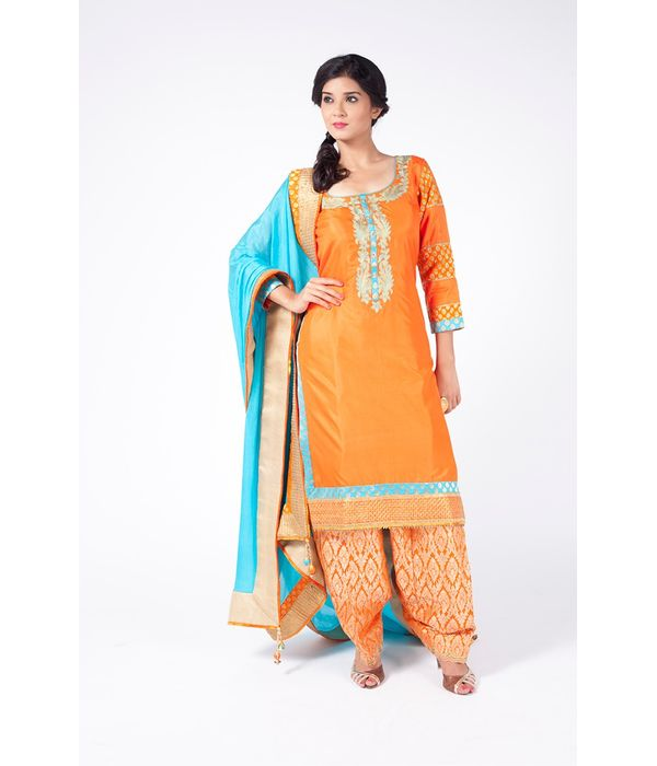 FESTIVE ORANGE  EMBROIDERED SHIRT WITH JM SALWAR ALONG WITH TURQUOISE DUPATTA.