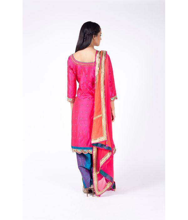 INDIAN PINK AND MULTI SHADED EMBROIDERED SHIRT WITH TEAL JM SALWAR ALONG WITH INDIAN PINK TO ORANGE DUPATTA.