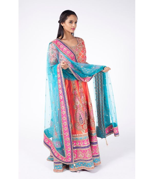 PEACH EMBROIDERED HEAVY KABBALAH WITH CHURIDAR ALONG WITH TURQUOISE DUPATTA.