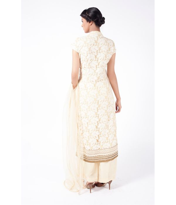 BEIGE EMBROIDERED SHIRT WITH  SHARARA PANT ALONG WITH BEIGE DUPATTA.