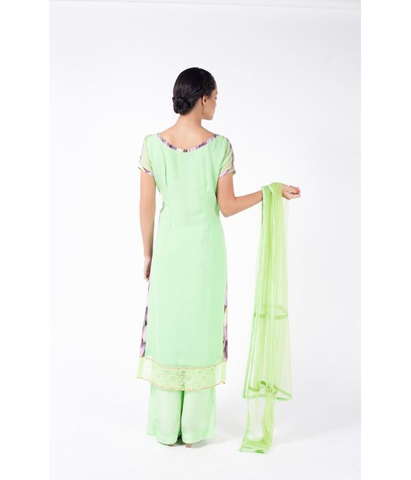APPLE GREEN EMBROIDERED SHIRT WITH SHARARA PANT ALONG WITH APPLE GREEN  DUPATTA