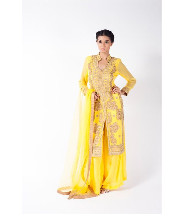 CHROME YELLOW EMBROIDERED JACKET WITH SHARARA PANT ALONG WITH CHROME YELLOW DUPATTA.