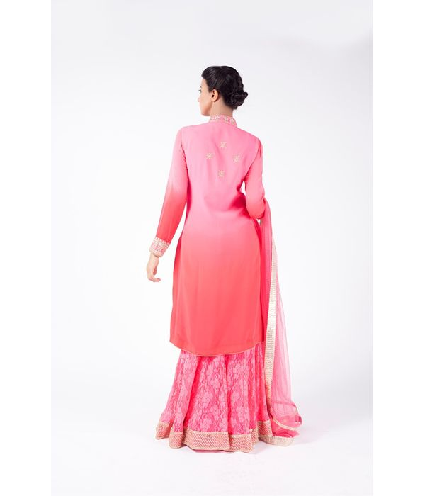 PINK OMBRE EMBROIDERED JACKET WITH SHARARA PANT ALONG WITH LIGHT CORAL DUPATTA.