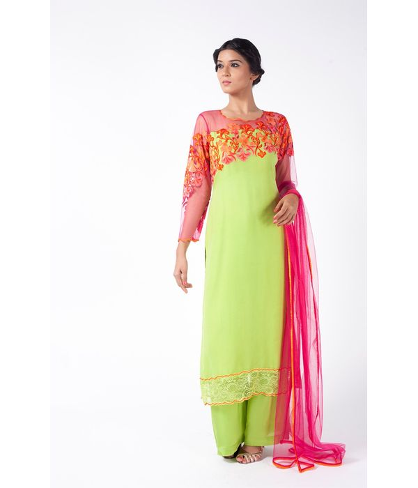 APPLE GREEN AND PINK EMBROIDERED SHIRT WITH SHARARA PANT ALONG WITH FUSCHIA PINK DUPATTA