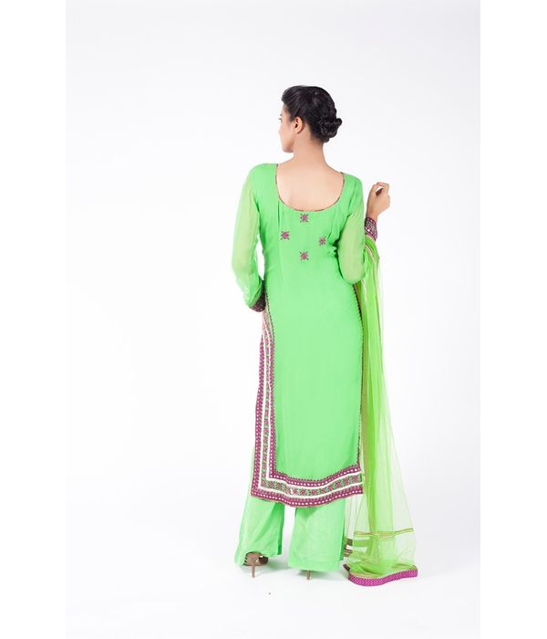 APPLE GREEN AND PURPLE EMBROIDERED SHIRT WITH SHARARA PANT ALONG WITH APPLE GREEN DUPATTA.