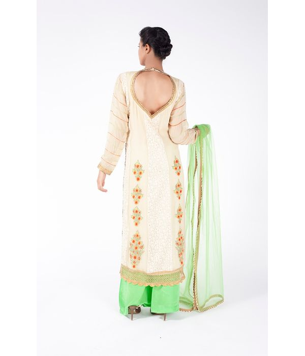 BEIGE  EMBROIDERED SHIRT WITH PERIDOT GREEN SHARARA PANT ALONG WITH MINT GREEN DUPATTA.
