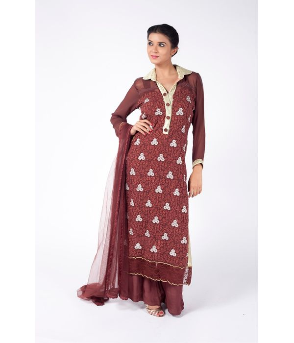 EARTH BROWN EMBROIDERED SHIRT WITH  SHARARA PANT ALONG WITH EARTH BROWN DUPATTA.